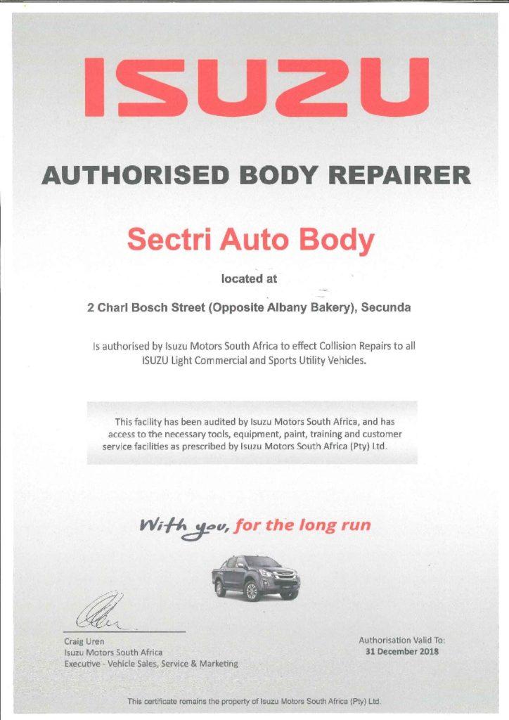 ISUZU CERT 2018 - SAMBRA: Motor Body Repair   Accident