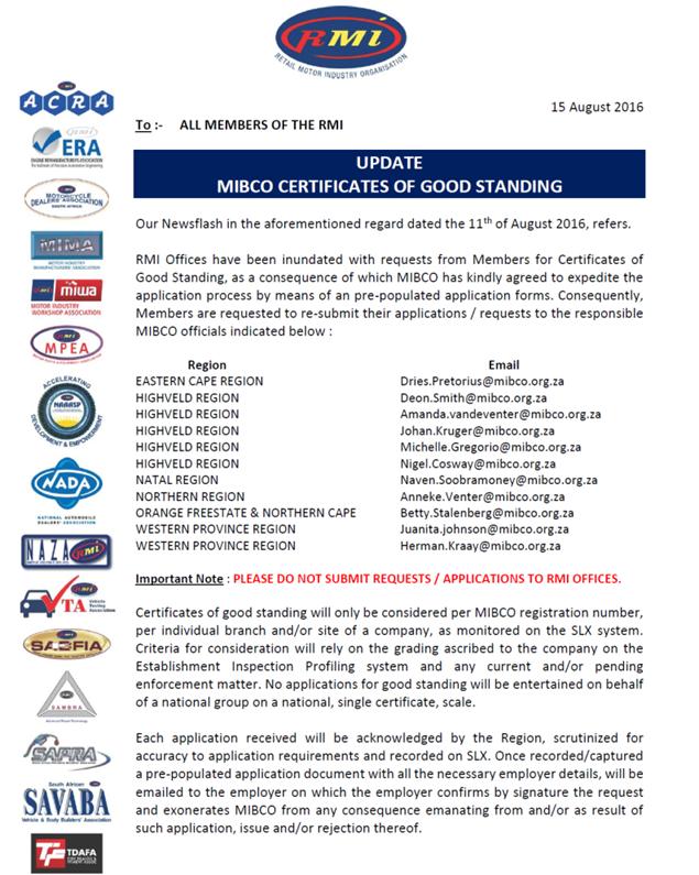Member Reminder Mibco Certificates Of Good Standing Sambra Motor