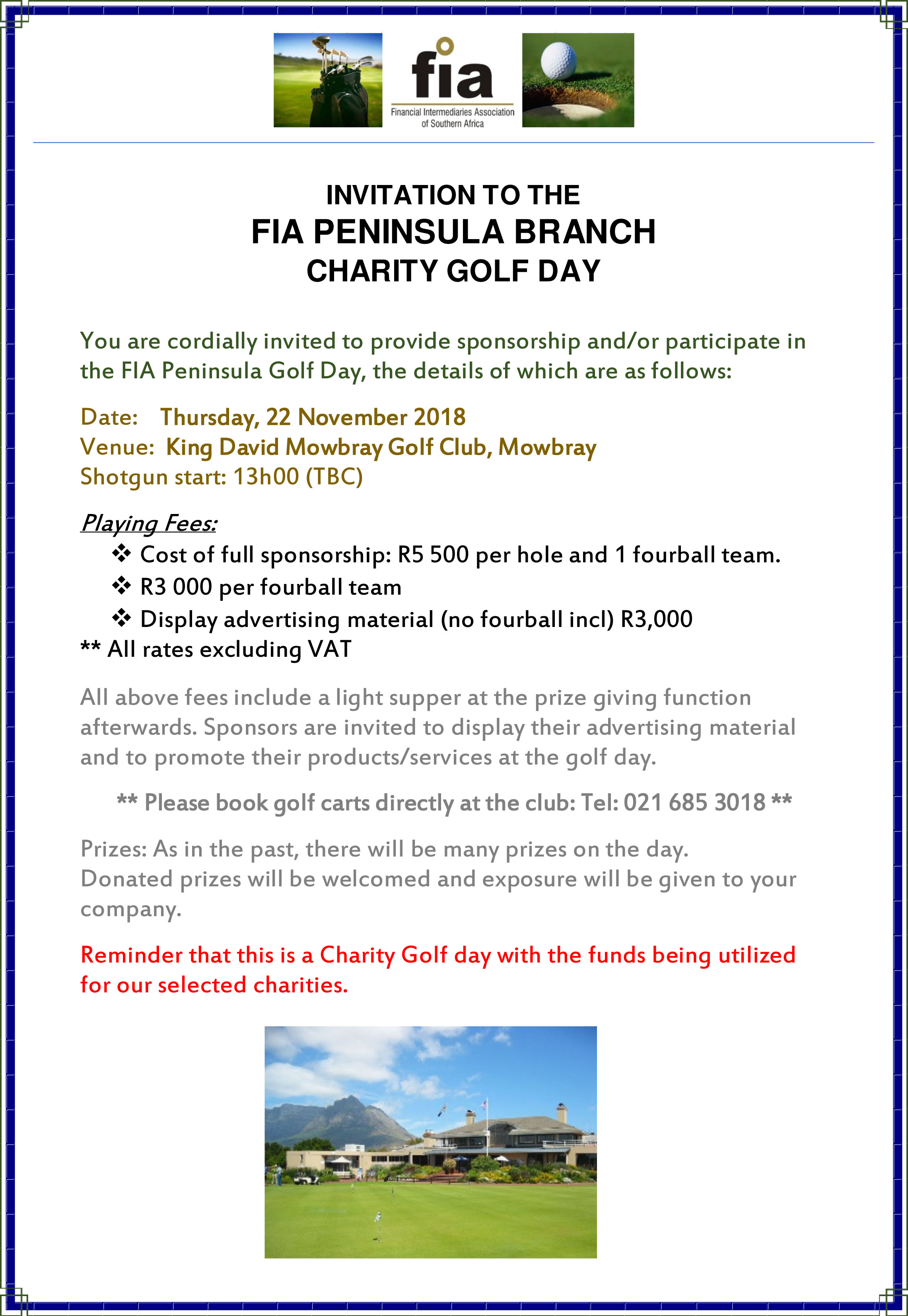 FIA Peninsula Branch Charity Golf Day