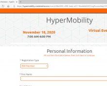 REGISTER NOW! Hypermobilty Virtual Event: 18th November 2020